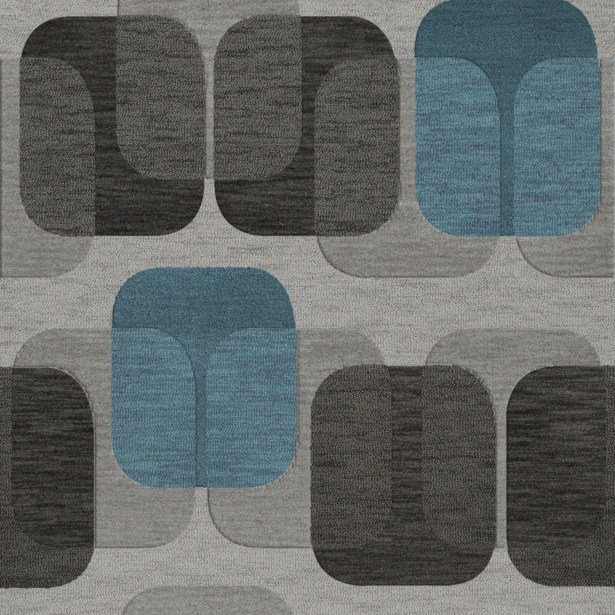 Bella Machine Woven Wool Gray/Black Area Rug Rug Size: Square 10'
