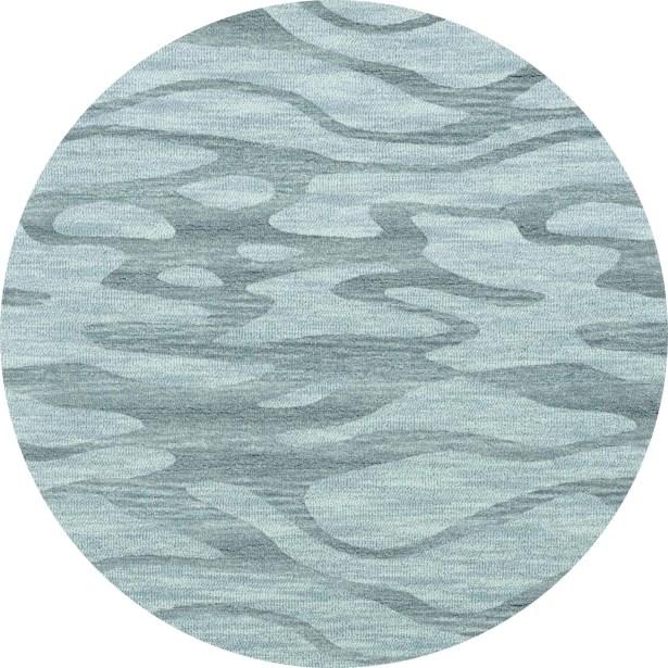 Bella Machine Woven Wool Blue Area Rug Rug Size: Round 8'