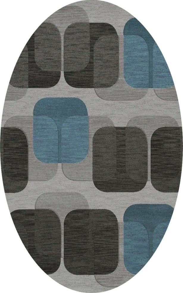 Bella Machine Woven Wool Gray/Black Area Rug Rug Size: Oval 8' x 10'