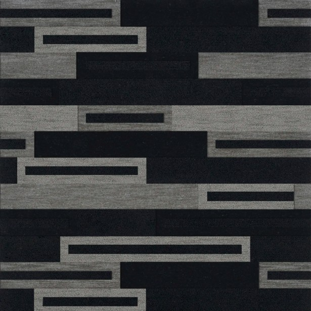 Bella Machine Woven Wool Black/Gray Area Rug Rug Size: Square 4'