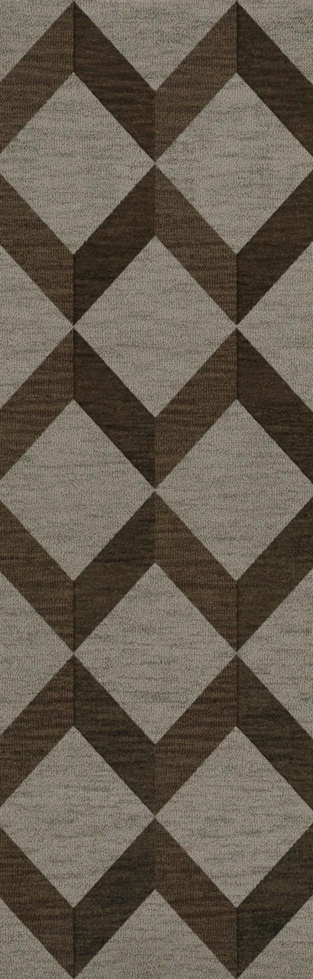 Bella Machine Woven Wool Gray/Brown Area Rug Rug Size: Runner 2'6