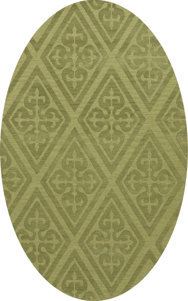 Bella Machine Woven Wool Green Area Rug Rug Size: Oval 12' x 15'