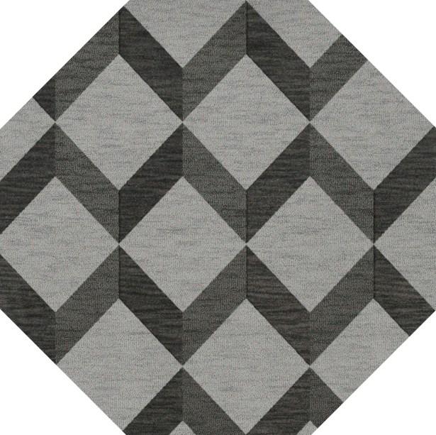 Bella Machine Woven Wool Gray/Black Area Rug Rug Size: Octagon 4'