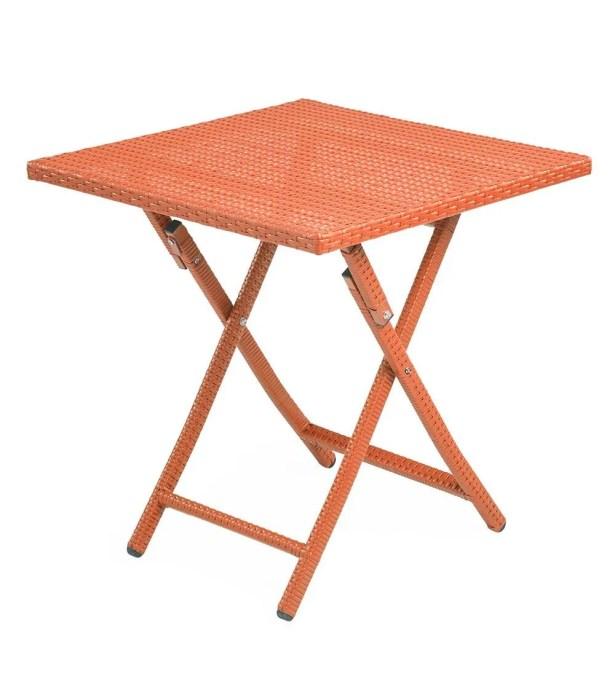 Tangier Folding Wicker Side Table Color: Orange