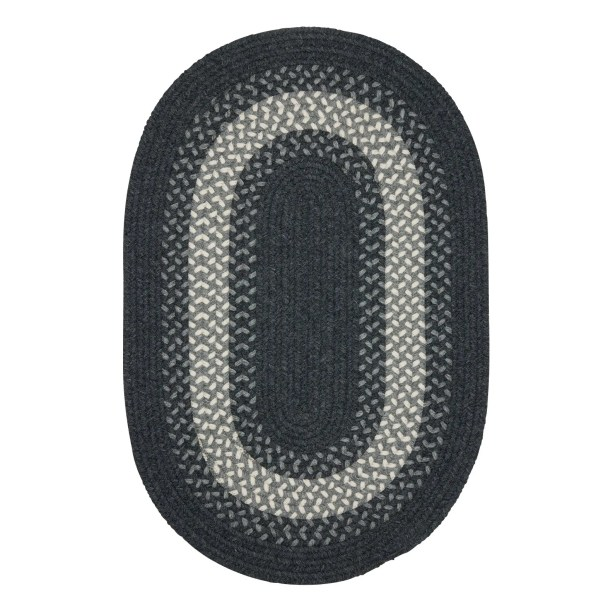 Serafin Hand-Woven Wool Charcoal Area Rug Rug Size: Round 8'
