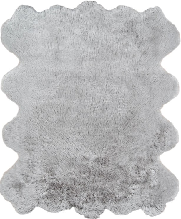 Touchstone Faux Fur Gray Area Rug