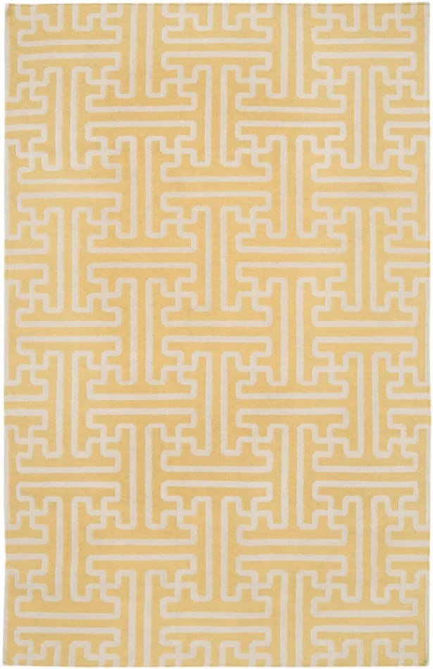 Brinda Gold & Ivory Area Rug Rug Size: Rectangle 3'6