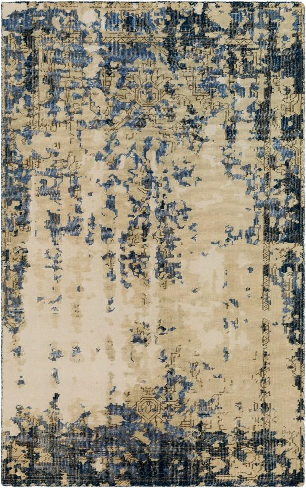 Jayden Hand-Knotted Bright Blue/Dark Blue Area Rug Rug Size: 6' x 9'