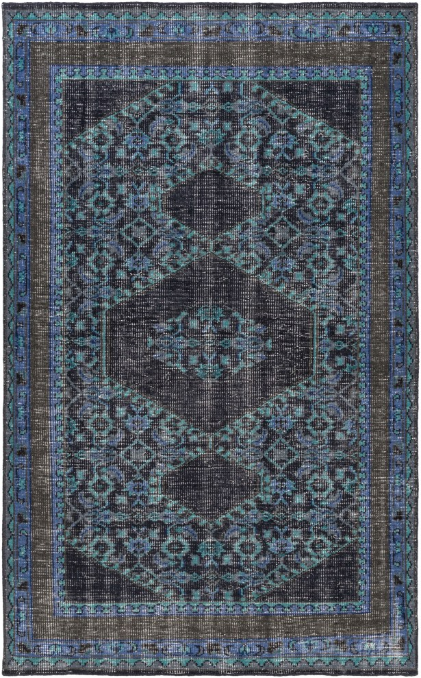 Fender Hand-Knotted Navy Area Rug Rug Size: Rectangle 3'6