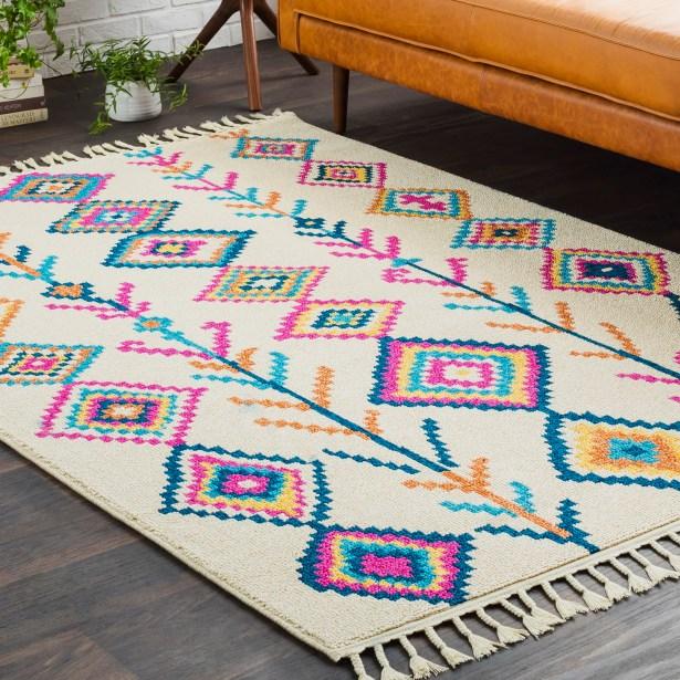 Hallwood Boho Moroccan Tassel Beige/Pink Area Rug Rug Size: Runner 2'7