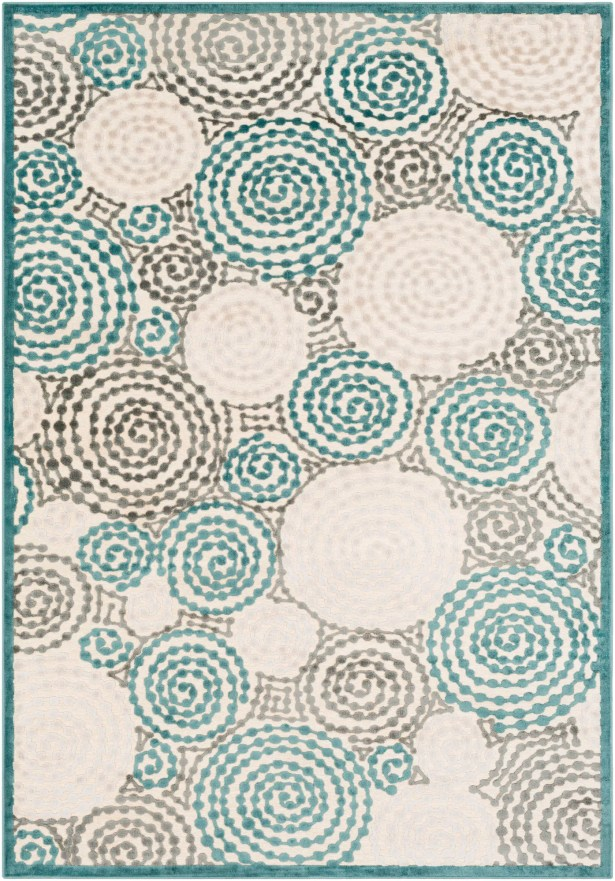Bressler Spiral Teal/Beige Area Rug Rug Size: Rectangle 5'2