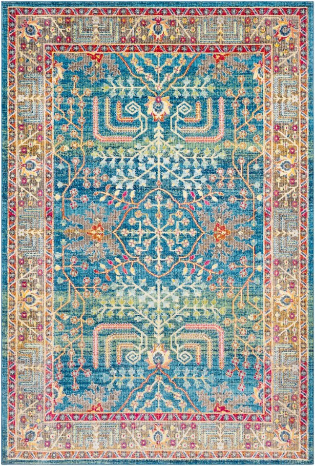 Tillamook Traditional Silk Floral Bright Blue/Sky Blue Area Rug Rug Size: Rectangle 7'10