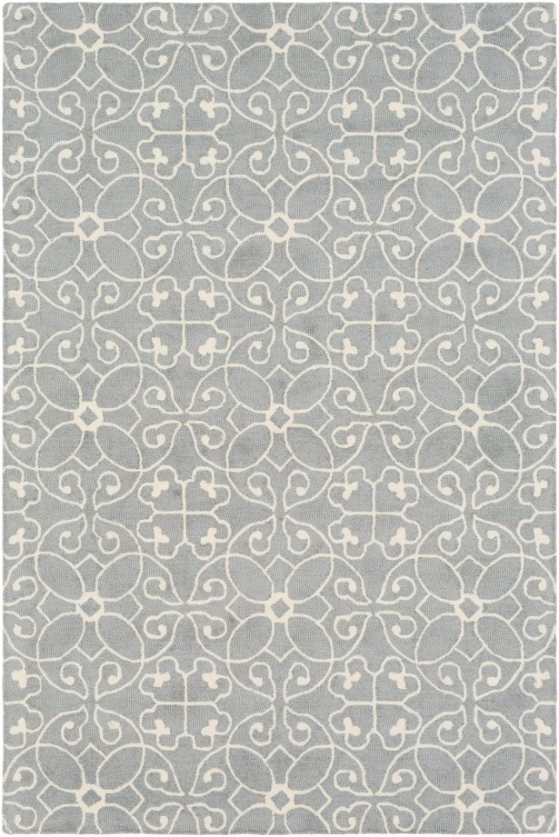 Arison Hand Hooked Wool Medium Gray/Cream Area Rug Rug Size: Rectangle 6' x 9'