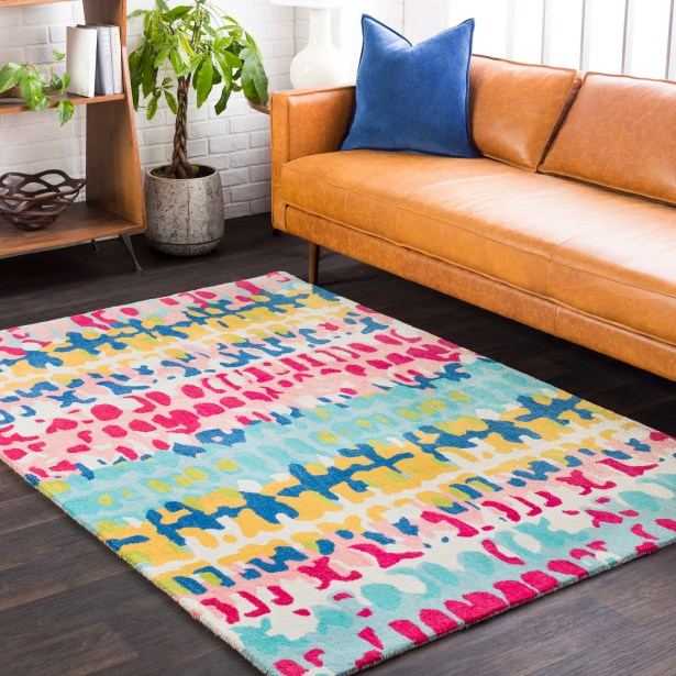 Axelle Abstract Hand Tufted Wool Saffron/Blue Area Rug Rug Size: Rectangle 8' x 10'