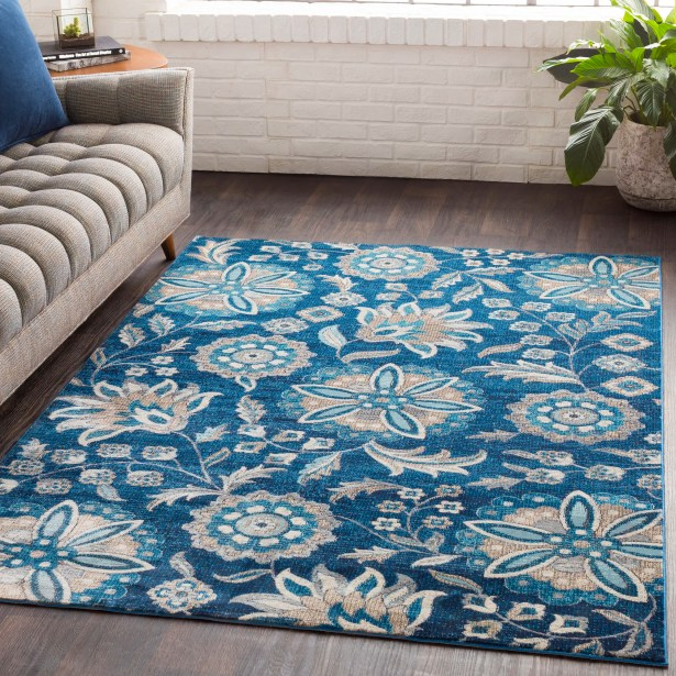 Niesen Floral Navy/Light Blue Area Rug Rug Size: Runner 2'7
