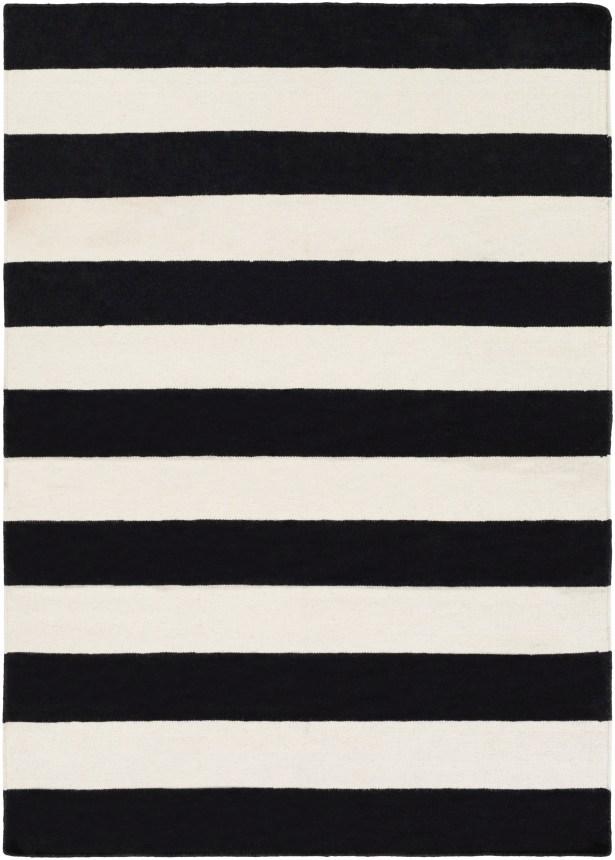 Stonebridge Hand-Woven Wool Black/White Area Rug Rug Size: Rectangle 8' x 10'