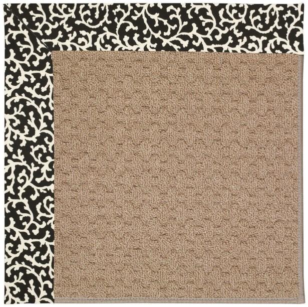 Lisle Machine Tufted Black Cascade/Brown Indoor/Outdoor Area Rug Rug Size: Round 12' x 12'