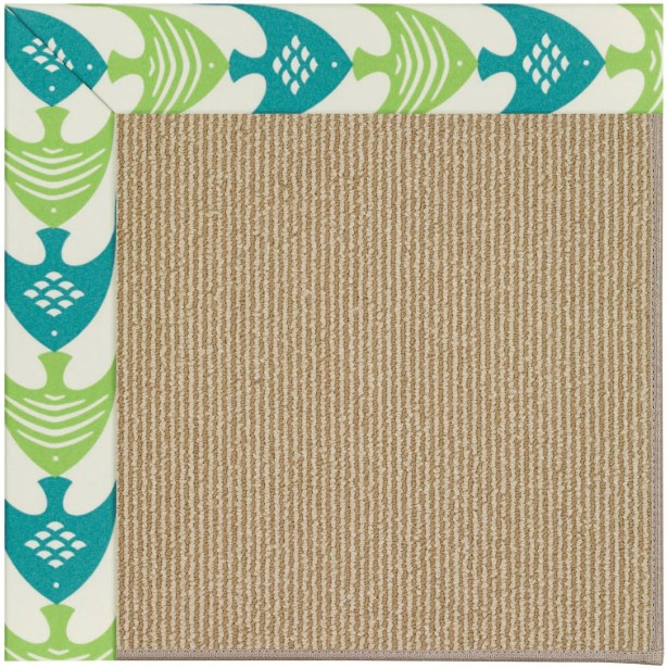Lisle Machine Tufted Angel Fish Green and Beige Indoor/Outdoor Area Rug Rug Size: Square 10'