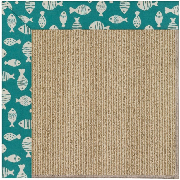 Lisle Machine Tufted Sea Green and Beige Indoor/Outdoor Area Rug Rug Size: Rectangle 9' x 12'