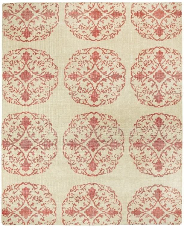 Classic Cardinal / Ivory Mandala Area Rug Rug Size: Rectangle 9' x 12'