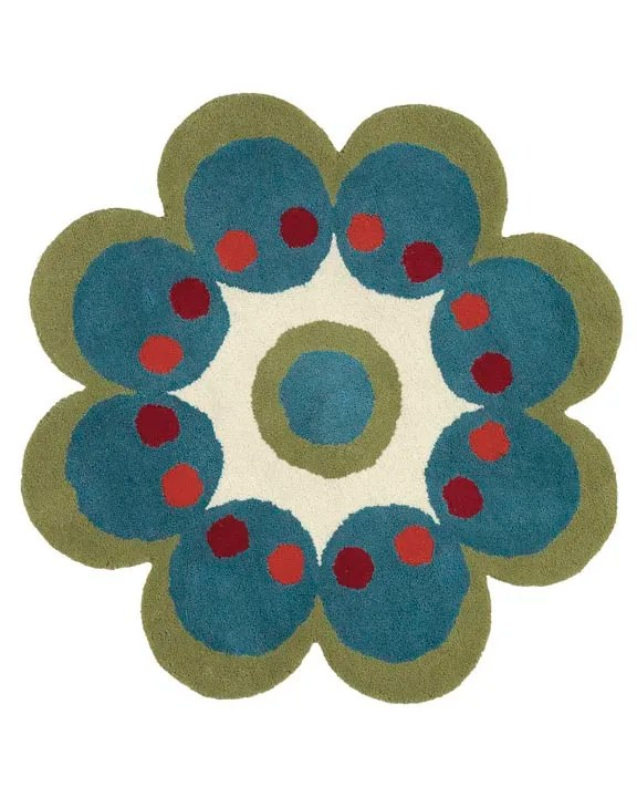 Fantasia Flower Hand-Tufted Wool Turquoise Area Rug