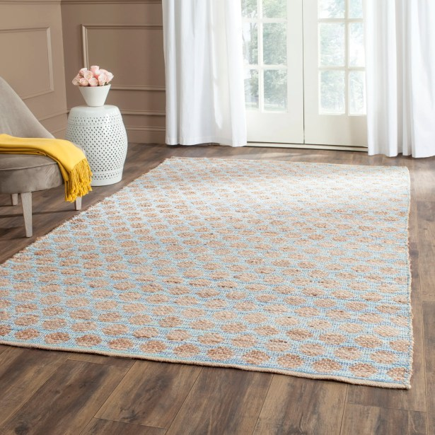 Pluto Hand-Woven Blue/Natural Area Rug Rug Size: Rectangle 6' x 9'