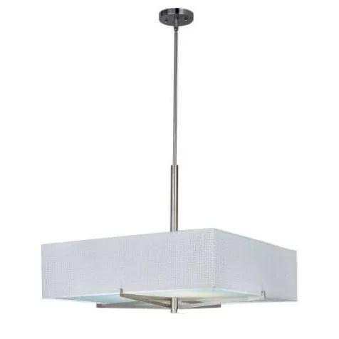 Denning 3-Light Square/Rectangle Chandelier Color / Size / Shade: Satin Nickel / 7