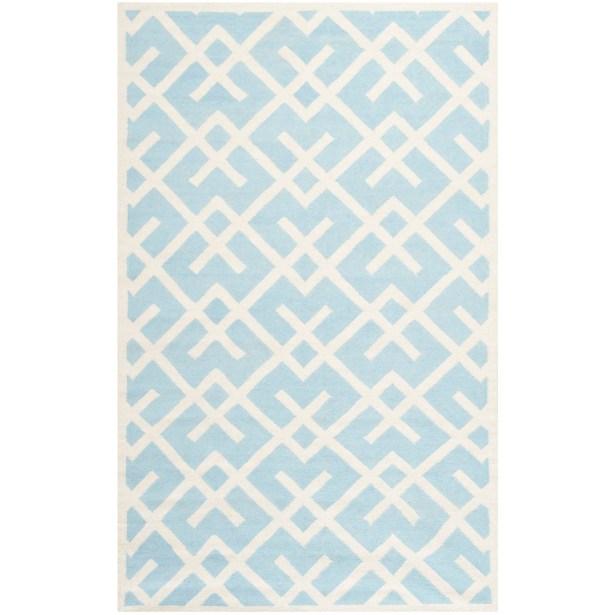 Cassiopeia Handmade Light Blue/Ivory Area Rug Rug Size: Rectangle 9' x 12'