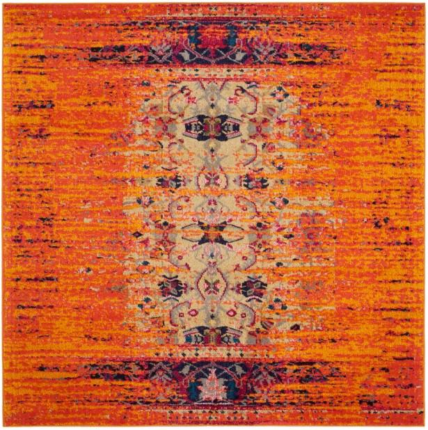 Sylvia Orange Area Rug Rug Size: Square 5'