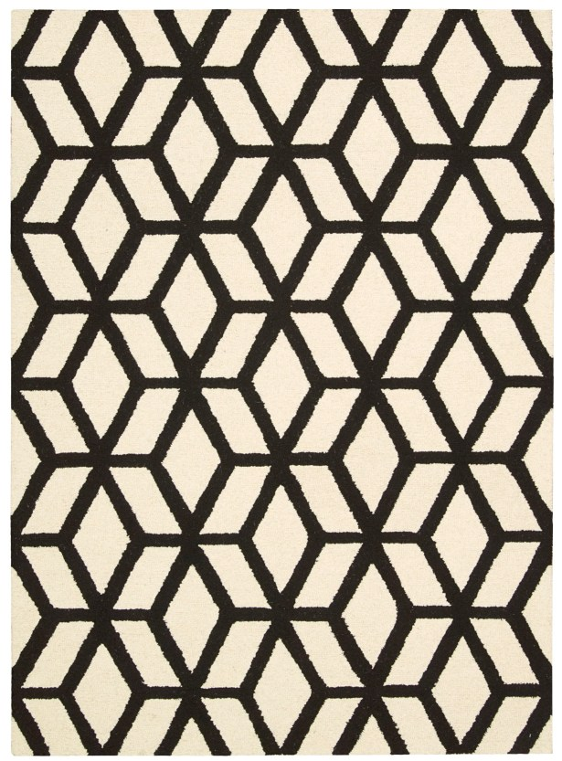 Nohemi Hand-Knotted Ivory/Black Area Rug Rug Size: Rectangle 8' x 11'