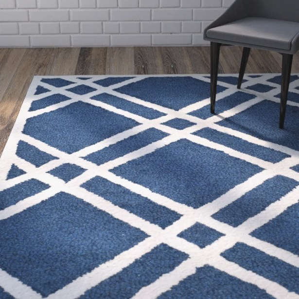 Martins Hand-Tufted Wool Navy Blue/Ivory Area Rug Rug Size: Rectangle 4' x 6'