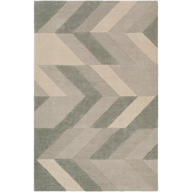 Melitta Hand-Tufted Light Gray/Sea Foam Area Rug Rug Size: Round 8'
