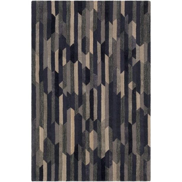 Borel Hand-Tufted Navy/Tan Area Rug Rug Size: Runner 2'6