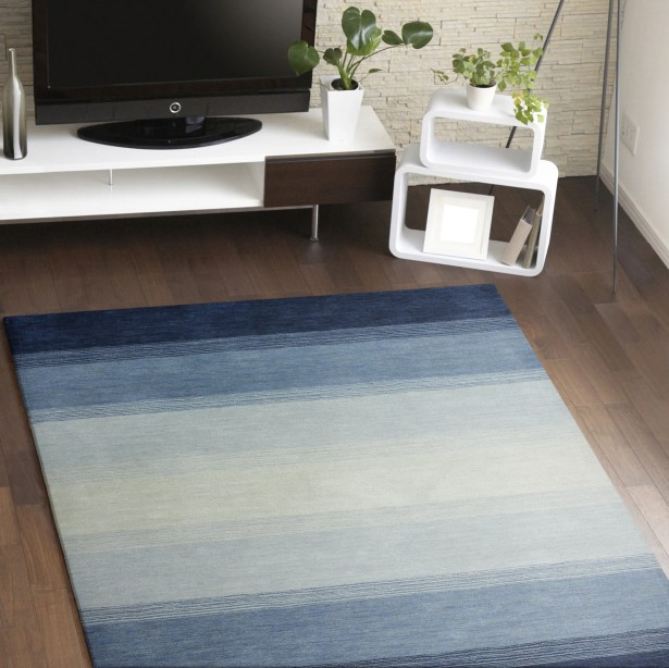 Hand-Woven Wool Blue Area Rug Rug Size: Rectangle 5' x 7'6