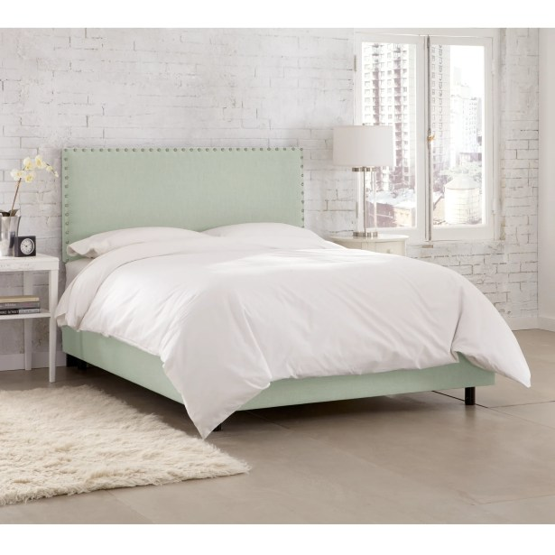 Kovach Upholstered Panel Bed with Mattress Size: Queen, Color: Linen Swedish Blue