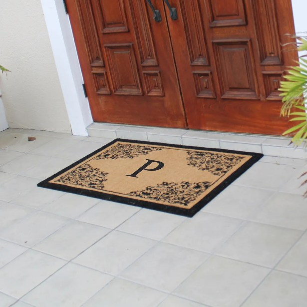 Hedvige Courtyard Entry Double Monogrammed Doormat Letter: P