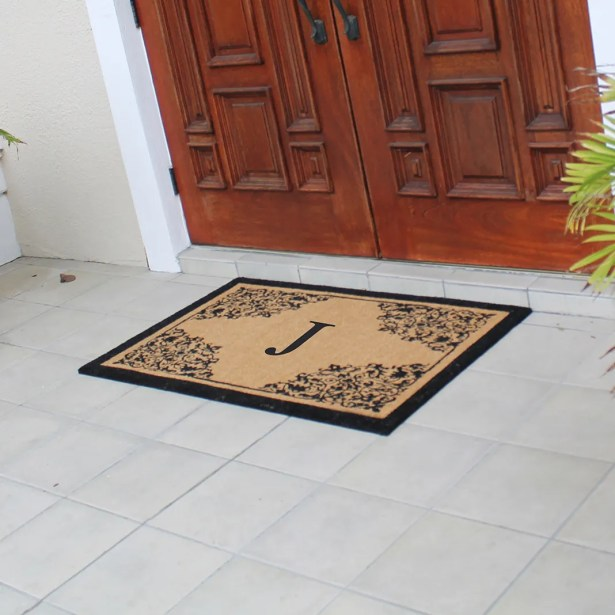 Hedvige Courtyard Entry Double Monogrammed Doormat Letter: J