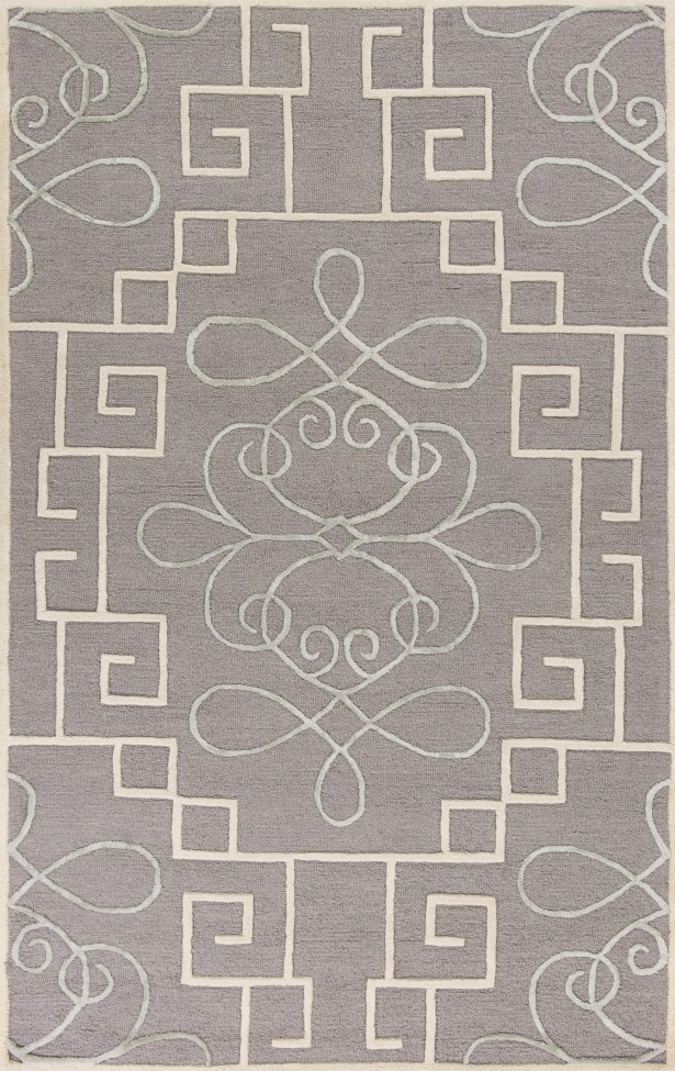 Haggerty Hand-Tufted Gray/Cream Area Rug Rug Size: Round 5'6