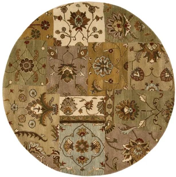 Philip Hand-Tufted Brown/Green/Beige Area Rug Rug Size: Round 8'