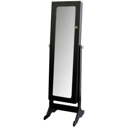 Bryonhall Standing Storage Jewelry Armoire with Mirror Color: Black