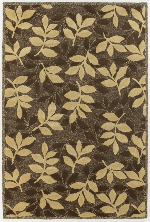Medford Chocolate/Beige Leaves Area Rug Rug Size: 5' x 7'6