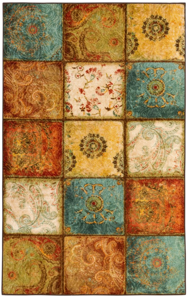 Aftonshire Rust Red/Blue Area Rug Rug Size: Rectangle 7'6