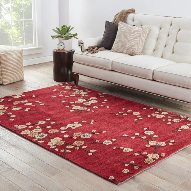 Anselmo Cherry Blossom Red Area Rug Rug Size: Rectangle 9' x 12'