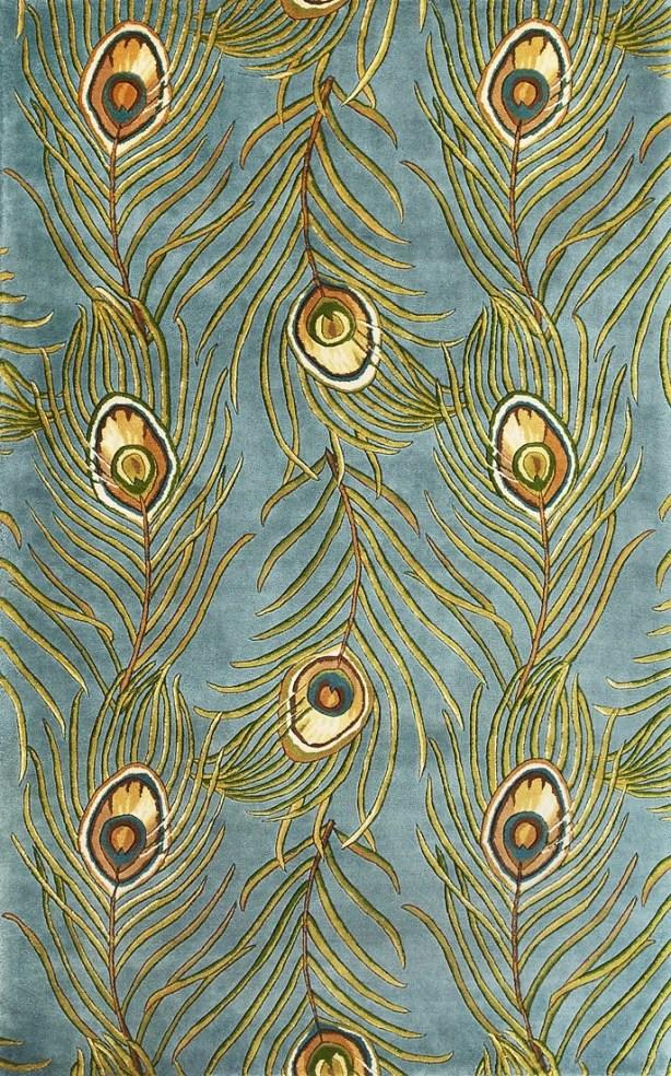 Las Cazuela Blue Peacock Feathers Novelty Area Rug Rug Size: Rectangle 3'3