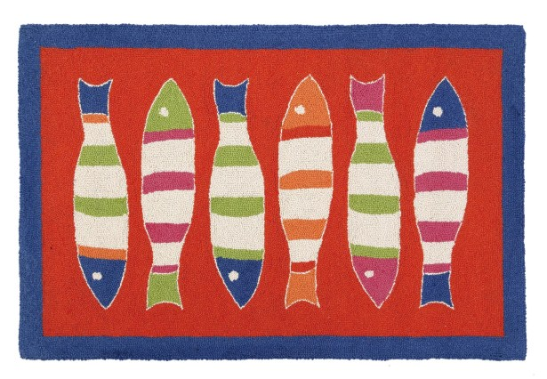 Picket Fish Hooked Red Kids Rug