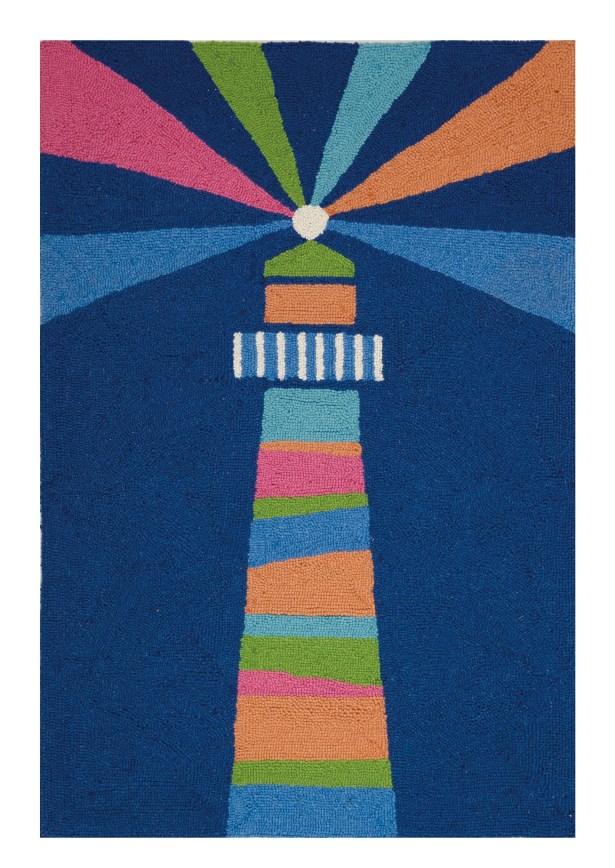 Fowler Lighthouse Oars Regatta Hand Hooked Wool Blue Area Rug