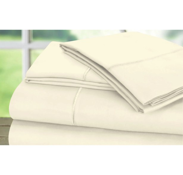 Dream Castle 600 Thread Count 100% Cotton Sateen Marrow Hem 6 Piece Sheet Set Size: King, Color: Ecru