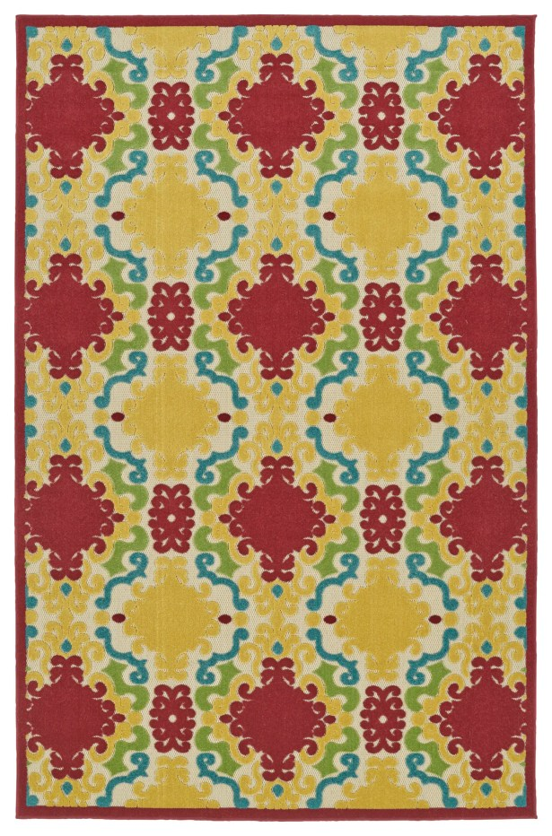 Lewis Yellow/Red Indoor/Outdoor Area Rug Rug Size: Rectangle 5' x 7'6