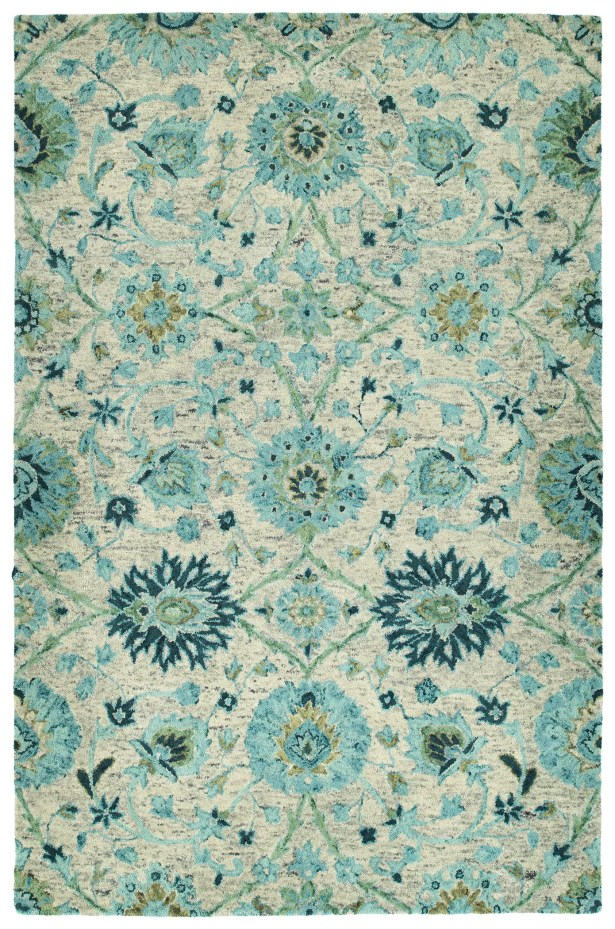 Toshiro Hand Tufted Wool Turquoise Area Rug Rug Size: Rectangle 5' x 7'9