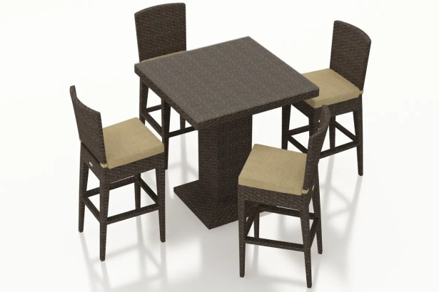 Arden 5 Piece Bar Height Dining Set with Cushions Color: Heather Beige